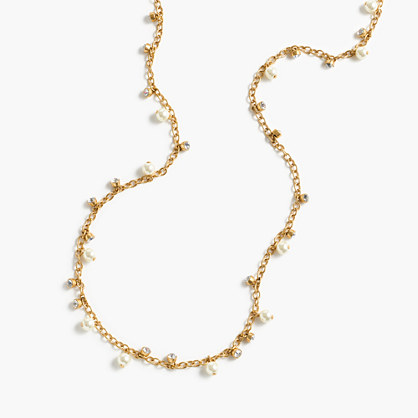 Long crystal-and-pearl necklace