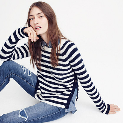 Striped cable-knit sweater with buttons
