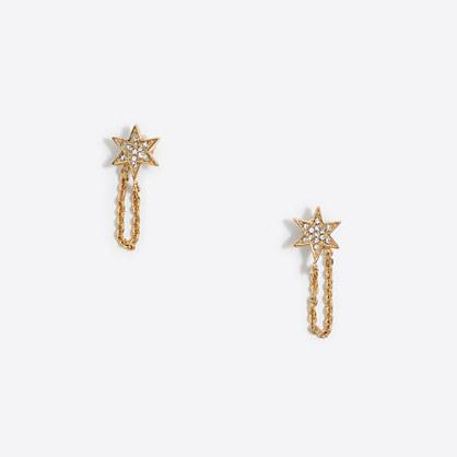 Crystal star chain earrings