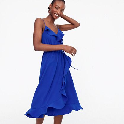 Drapey ruffle faux-wrap dress