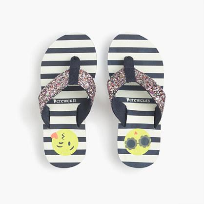 Girls' glitter emoji flip-flops