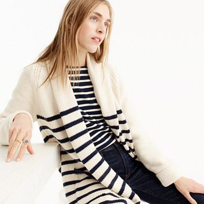 Long open cardigan sweater in stripe