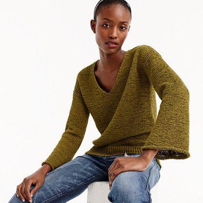 Flared-sleeve swing sweater