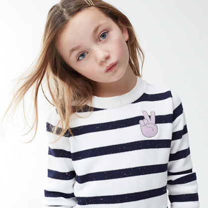 Girls' striped popover sweater with peace sign emoji