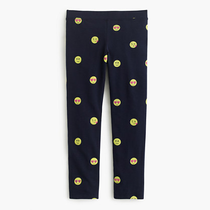 Girls' everyday leggings with lovestruck emojis