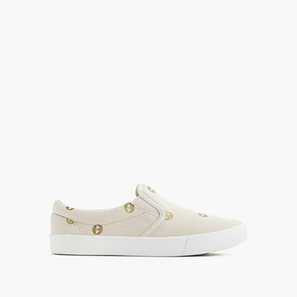 Girls' slide sneakers with gold emojis