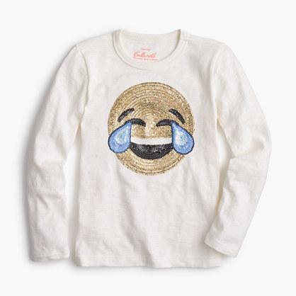 Girls' laughing emoji long-sleeve T-shirt