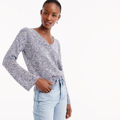 Flared-sleeve marled swing sweater