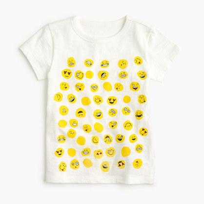 Girls' emoji polka-dot T-shirt