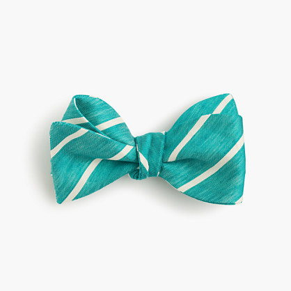 Silk bow tie in teal stripe